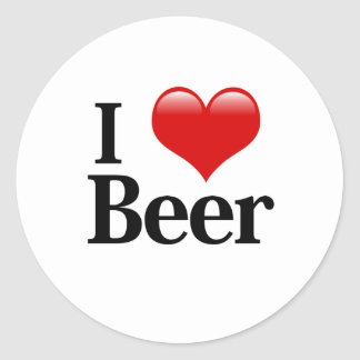 I Heart Beer Classic Round Sticker