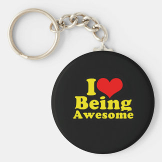 I Heart Being Awesome Basic Round Button Key Ring