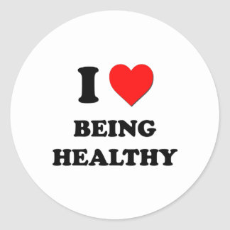 I Heart Being Healthy Round Stickers