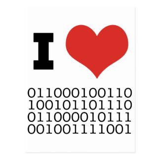 I Heart Binary Postcard