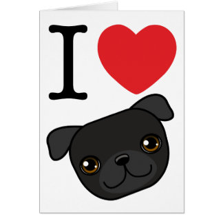 I Heart Black Pugs Card
