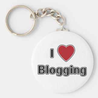 I Heart Blogging Basic Round Button Key Ring