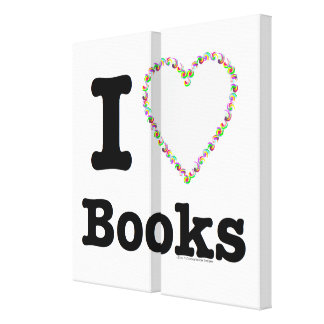 I Heart Books - I Love Books Colorful Swirls Stretched Canvas Prints