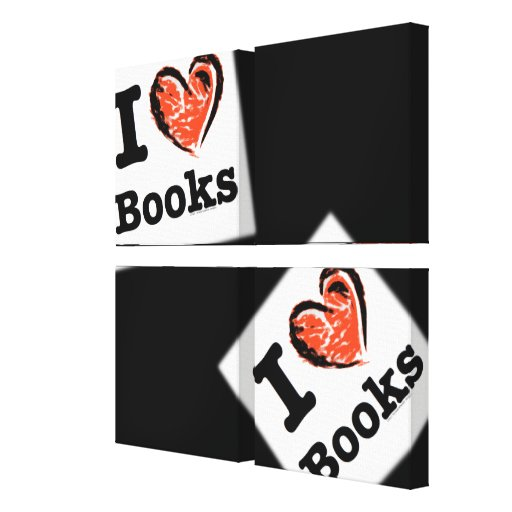 I Heart Books! I Love Books! (Crayon Heart) Gallery Wrap Canvas