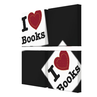 I Heart Books - I Love Books! (Double Heart) Gallery Wrapped Canvas