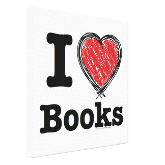 I Heart Books I Love Books Scribbled Lines Canvas Print