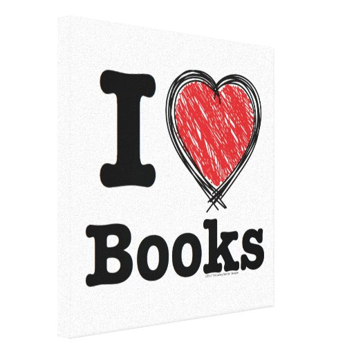 I Heart Books! I Love Books! (Scribbled Lines) Canvas Print