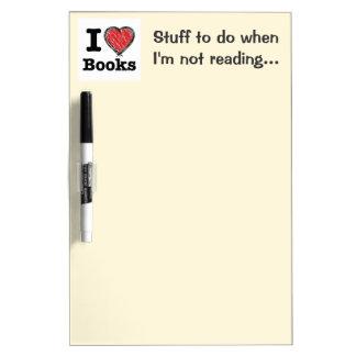 I Heart Books! I Love Books! (Scribbled Lines) Dry Erase Board