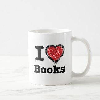 I Heart Books! I Love Books! (Scribbled Lines) Mugs