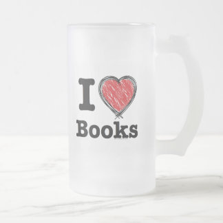 I Heart Books! I Love Books! (Scribbled Lines) Mug