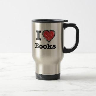 I Heart Books! I Love Books! (Scribbled Lines) Coffee Mugs