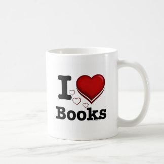 I Heart Books! I Love Books! (Shadowed Heart) Basic White Mug