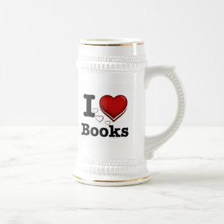 I Heart Books! I Love Books! (Shadowed Heart) Beer Steins