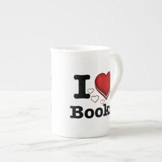 I Heart Books! I Love Books! (Shadowed Heart) Bone China Mug