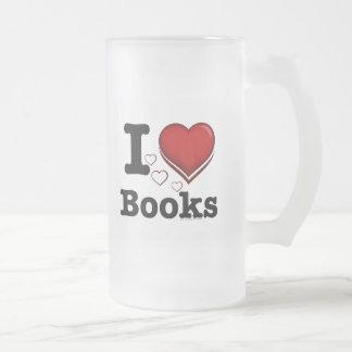I Heart Books! I Love Books! (Shadowed Heart) Frosted Glass Mug