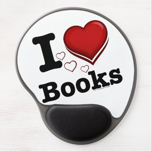 I Heart Books! I Love Books! (Shadowed Heart) Gel Mouse Mat