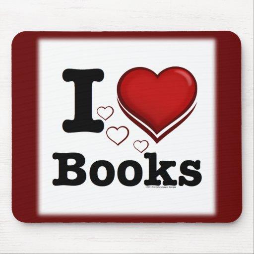 I Heart Books! I Love Books! (Shadowed Heart) Mousepad