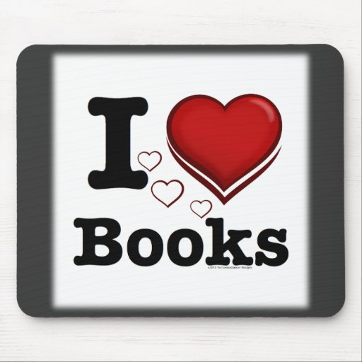 I Heart Books! I Love Books! (Shadowed Heart) Mouse Pad