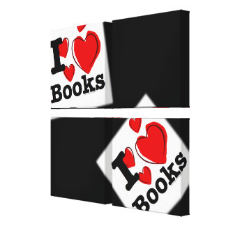 I Heart Books! I Love Books! (Sketchy Heart) Stretched Canvas Prints