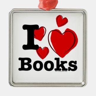 I Heart Books! I Love Books! (Sketchy Heart) Silver-Colored Square Decoration
