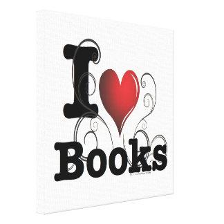 I Heart Books I Love Books! Swirly Curlique Heart Canvas Print