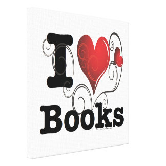 I Heart Books I Love Books Swirly Curlique Heart Stretched Canvas Prints