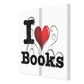 I Heart Books I Love Books! Swirly Curlique Heart Stretched Canvas Print