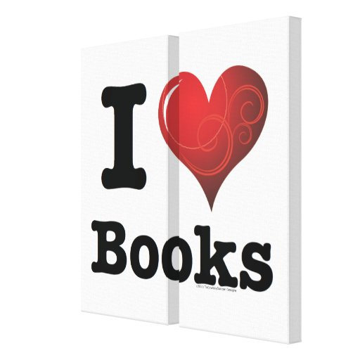 I Heart Books I Love Books! Swirly Curlique Heart Gallery Wrap Canvas