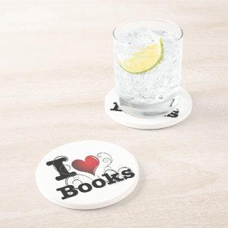 I Heart Books I Love Books! Swirly Curlique Heart Beverage Coaster