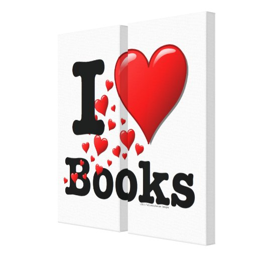 I Heart Books! I Love Books! (Trail of Hearts) Gallery Wrapped Canvas