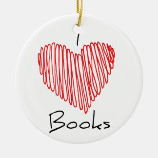 I Heart Books Round Ceramic Decoration