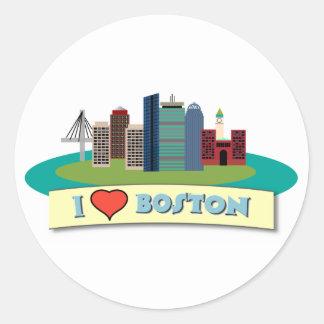 I Heart Boston Round Stickers