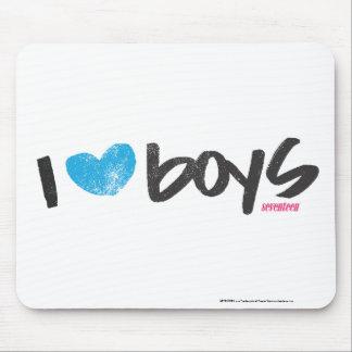 I Heart Boys Aqua Mouse Pad
