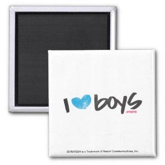 I Heart Boys Aqua Square Magnet