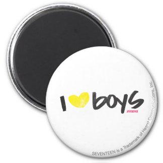 I Heart Boys Yellow 6 Cm Round Magnet