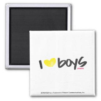 I Heart Boys Yellow Square Magnet