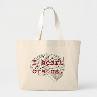 I heart brains. large tote bag