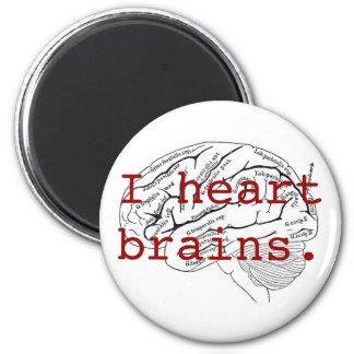 I heart brains. 6 cm round magnet