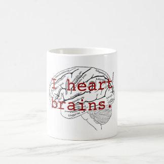 I heart brains coffee mug