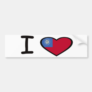 I Heart Burma Car Bumper Sticker