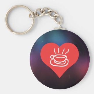 I Heart Caffe Latte Icon Basic Round Button Key Ring