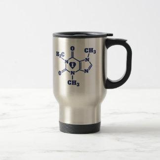 I Heart Caffeine Molecules Funny Geek Coffee Travel Mug