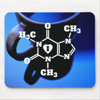 I Heart Caffeine Molecules Geeky Coffee Mouse Pad