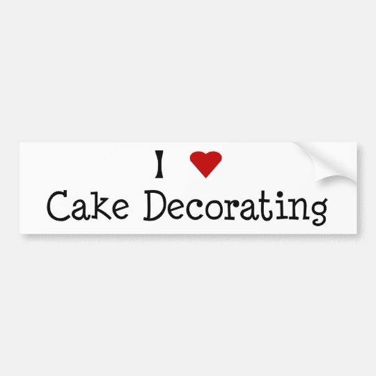 I Heart Cake Decorating Bumper Sticker