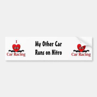 I Heart Car Racing Car Bumper Sticker
