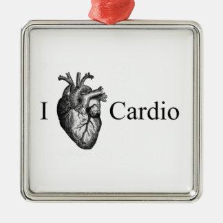 I Heart Cardio Silver-Colored Square Decoration