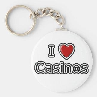I Heart Casinos Basic Round Button Key Ring