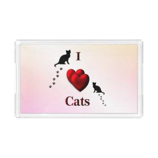 I Heart Cats Acrylic Tray