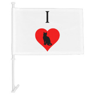 I Heart Cats Car Flag