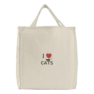 I heart cats embroidered tote bag